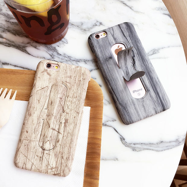 For Apple IPhone 6 6s 7 7s Plus Phone Cases Back Cover Wood Pattern Protective Shell