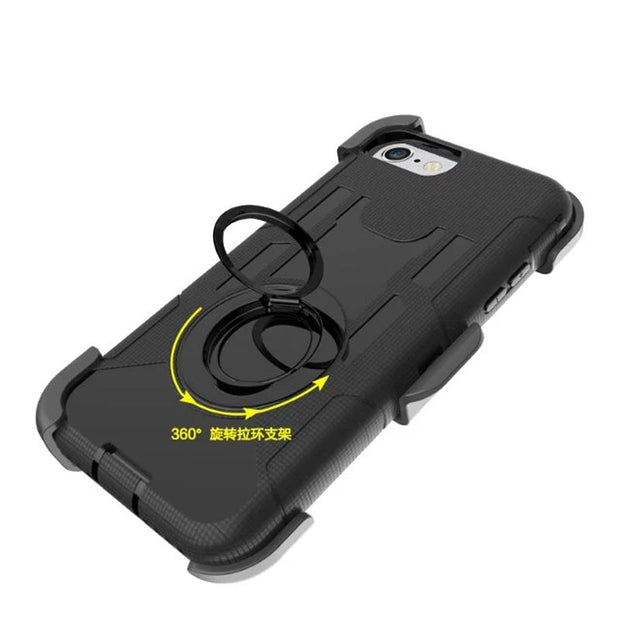 For Apple IPhone 7/7Plus Case Shockproof Hybrid Hard Rubber Armor Phone Case For IPhone 4/5/6/6Plus Finger Ring Kickstand Cover