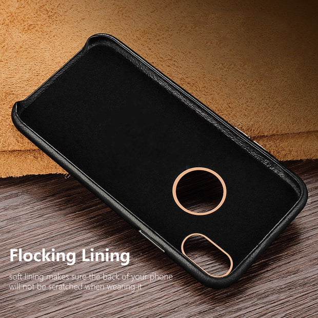 For Apple IPhone X Case Cover Luxury Slim Soft Genuine Leather Protective Thin Armor Phone Case For IPhone X Back Cover Funda