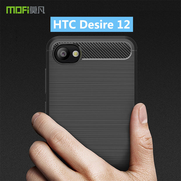 For HTC Desire 12 MOFi Soft Silicone TPU Gel Brush Carbon Fiber Design Phone Case Cover For HTC Desire 12 Case