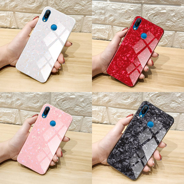 For Huawei Nova 3e Case Phone Case Shell Pattern Tempered Glass Cover For Huawei Nova3e Case Cover ANE-AL10 Protection Shell