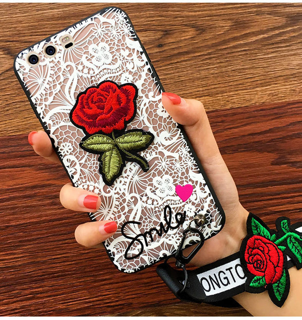 For Huawei P20 P10 P9 P8 Lite Mate 7 8 9 Pro Honor 6X 7 8 9 V9 V8 V10 Nova 2 Plus 5A Enjoy 6S Lace Flower Hand Strap Case Cover
