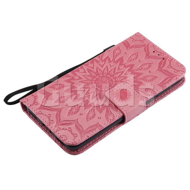 For Huawei Y5 (2017) Leather Case Embossing Sunflower Leather Wallet Case For Huawei Y5 (2017) FREE SHIPPING