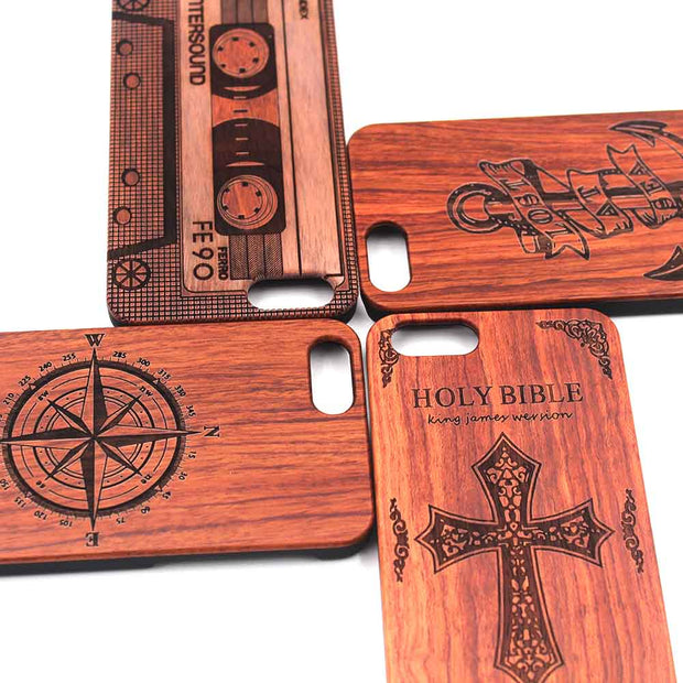 For Iphone 6S 6 PlusUltra Thin Bamboo Wood Phone Case Carved Retro Pattern Wooden Hard Cases Cover Shell For Iphone 5 5S