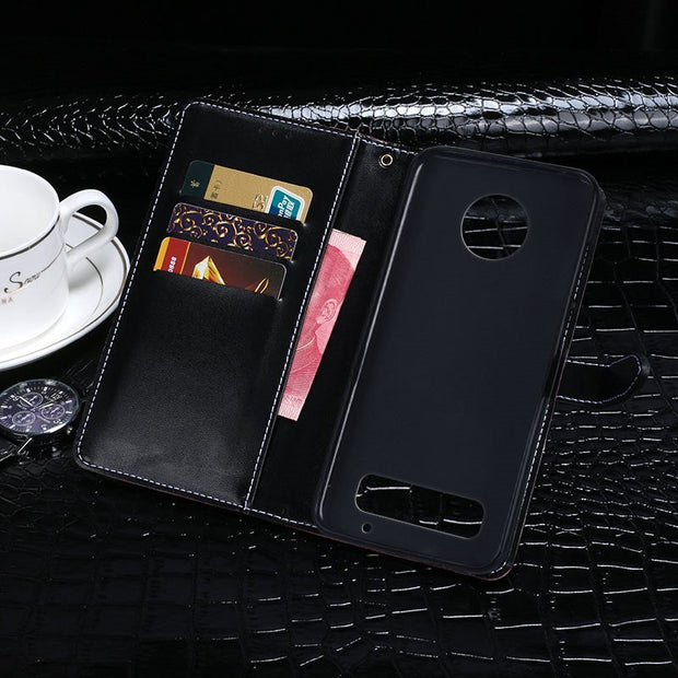 For Motorola Moto Z3 Play Case Hight Quality Flip PU Leather Case For Moto Z3 Play Wallet Cover Crocodile Skin Phone Bags Cover