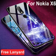 For Nokia X6 2018 TA-1099 Case Luxury Tempered Glass + Soft Edge Back Cover For Nokia X 6 Glass Case Nokiax6 Cases Phone Shell