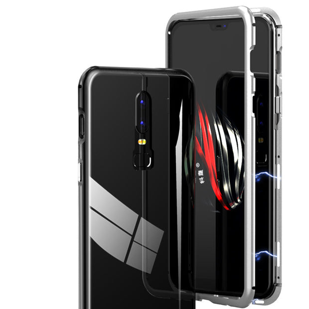 buy popular d845a 6b413 For Oneplus 6 Case Magnetic Adsorption Metal Bumper + 9H Tempered ...