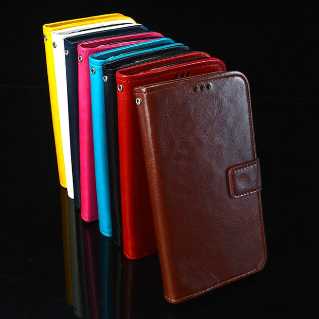 For Oukitel U7 Max Case 5.5 Inch Book Stand Case For Oukitel U7 Max Phone Bag Shell Crazy Horse Wallet PU Leather Cases Cover