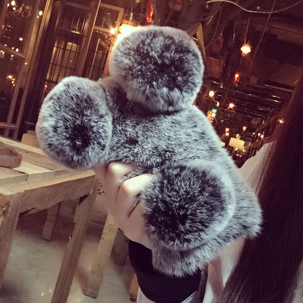For Samsung A5 A7 2017 A6 Plus 2018 A8 Star J5 J7 Prime J4 J6 Cute Panda Ears Bunny Fluffy Rabbit Warm Hairy Fur Soft Phone Case
