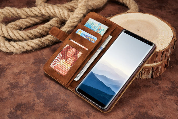 For Samsung Galaxy NOTE9 NOTE8 S9 S8 Plus S7 Edge Case Wallet Card Holder Kickstand Case Phone Cover 360 Retro Flip Leather Case