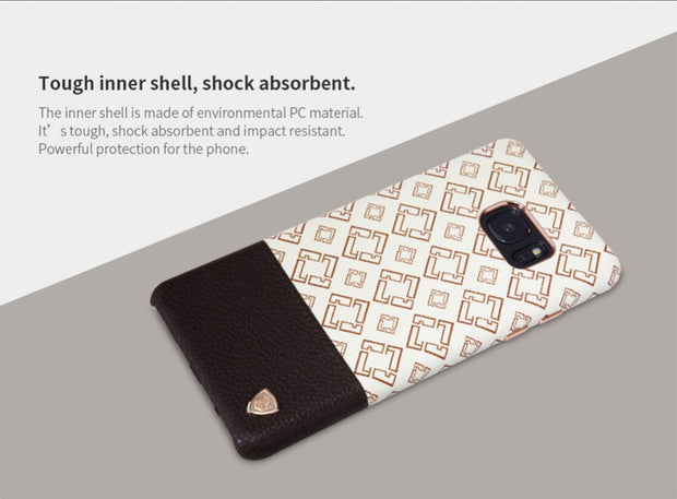 For Samsung Galaxy Note FE(Fan Edition) Nillkin Oger PU Leather Back Cover Vintage Leather PC Case Work With Magnetic Car Holder