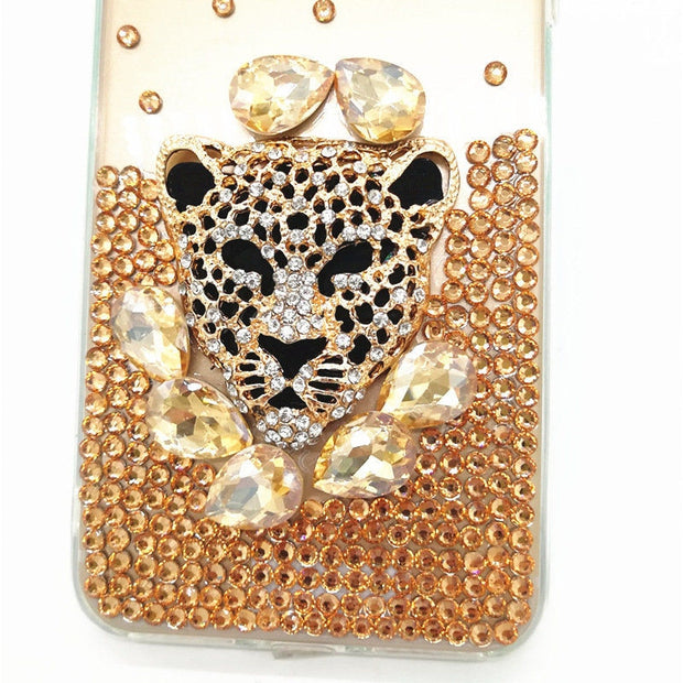 For Samsung S6 S7 Edge S8 S9 Plus Note 3 4 5 8 9 Luxury Glitter Diamond Rhinestone Leopard Head Soft TPU Phone Case Back Cover