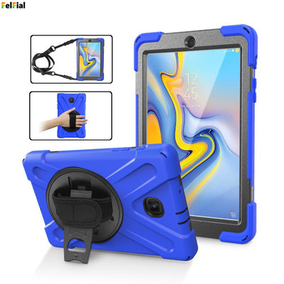 For Samsung Tab A 8.0'' T387 (2018) Case Cover Heavy Duty Shockproof Hybrid Cover With Hand Strap+Shoulder Strap