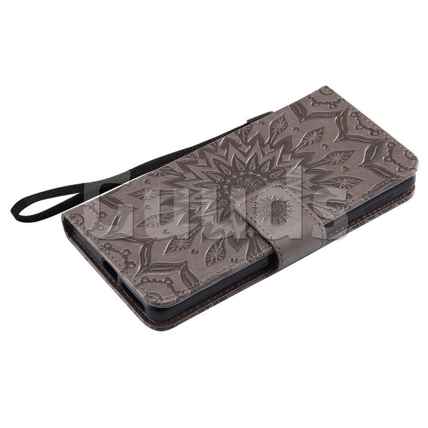 For Sony Xperia E5 Leather Case Embossing Sunflower Leather Wallet Case For Sony Xperia E5 FREE SHIPPING