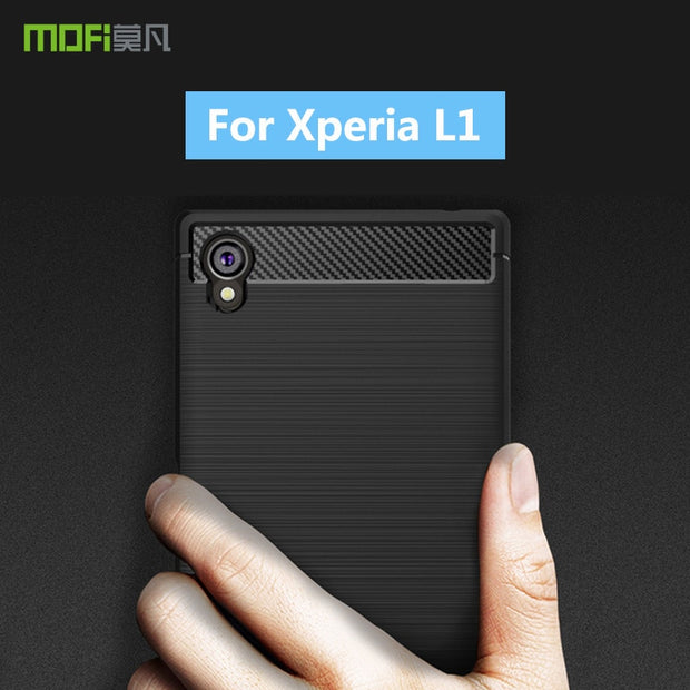 For Sony Xperia L1 Original MOFi Soft Silicone TPU Gel Brush Carbon Fiber Design Phone Case Cover For Sony Xperia L1 Case