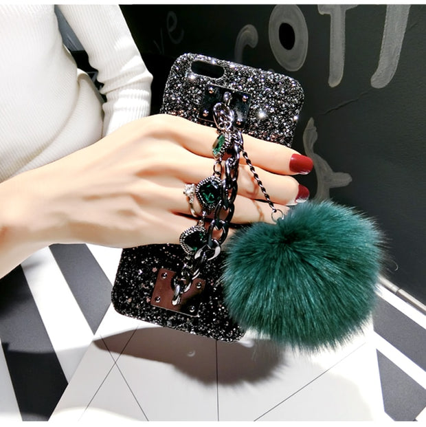 For VIVO X21 X20 X9 X7 Y85 Y79 Y75 Y71 Y67 Y66 Y55 Iphone Lady Bling Retro Hand Strap Metal Chain Fur Hard Case Cover Protector