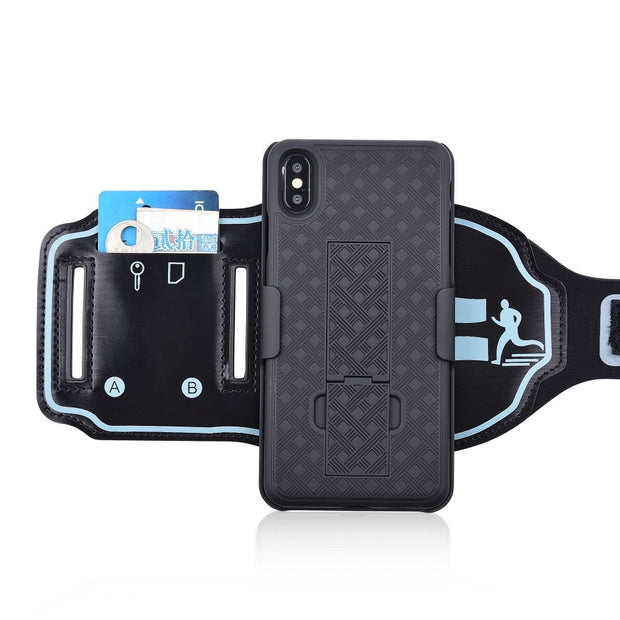 huge selection of 41521 a97f9 For XS MAX Arm Case Sports Phone Cases For IPhone X XR XS MAX Cover Gym  Running Exercise Phone Holder Pouch STAND Case Arm-band