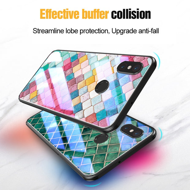 For Xiaomi Mi 8 Mi8 Lite Case Pattern Design Tempered Glass VPOWER Explosion-proof Cover For Xiaomi Mi8 SE Shockproof Glass Case