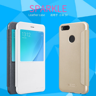 For Xiaomi Mi A1 MiA1 Mi5X Mi 5X Leather Case NILLKIN Sparkle Series Fashion Business Flip Cases Back Cover Mobile Phone Bags