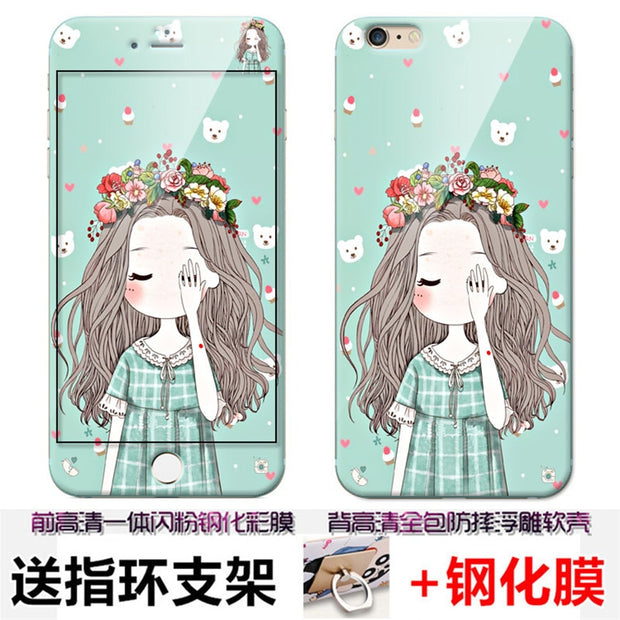 For IPhone 6 6s Case With Ring Cartoon 3D Cute Silicon+color Tempered Glass Film Anti-knock Fitted Case For IPhone 6 6sPlus Case