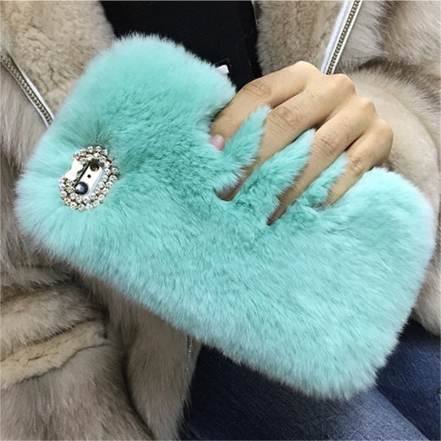 For IPhone 6 7 8 Plus X XS MAX XR For Samsung S6 S7 Edge S8 S9 Note 5 8 9 Cute Rabbit Plush Rhinestone Soft Phone Case Pompom