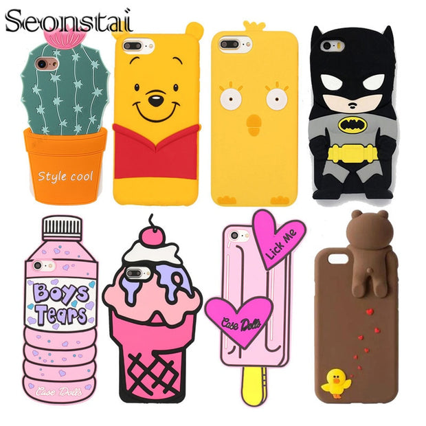 For Iphone 7 Plus 3d Cute Cartoon Case Soft Silicone Cover For Iphone Northern Cases
