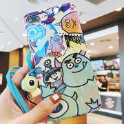 For IPhone 8 Plus Monsters University Case & Tempered Glass Film For IPhone X 7 8 6 6s Plus Phone Case +Button Sticker + Rope