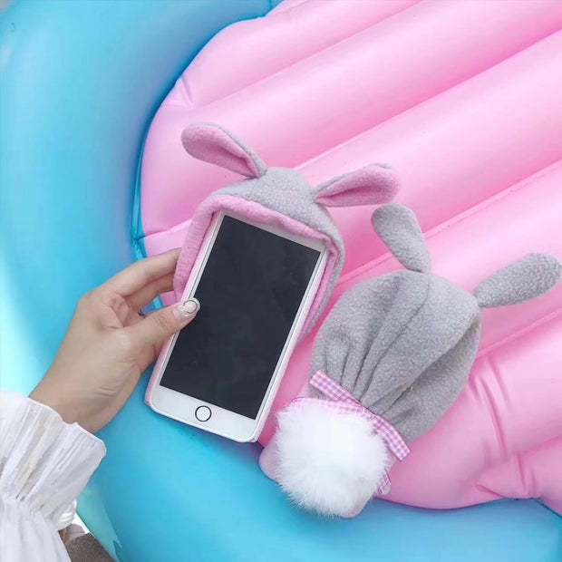 For IPhone X 8 7 6 Plus Luxury Top Rabbit Fur Ear Tail Ball Cover For IPhone 8Plus 7Plus 6Plus 6SPlus Back Lovely