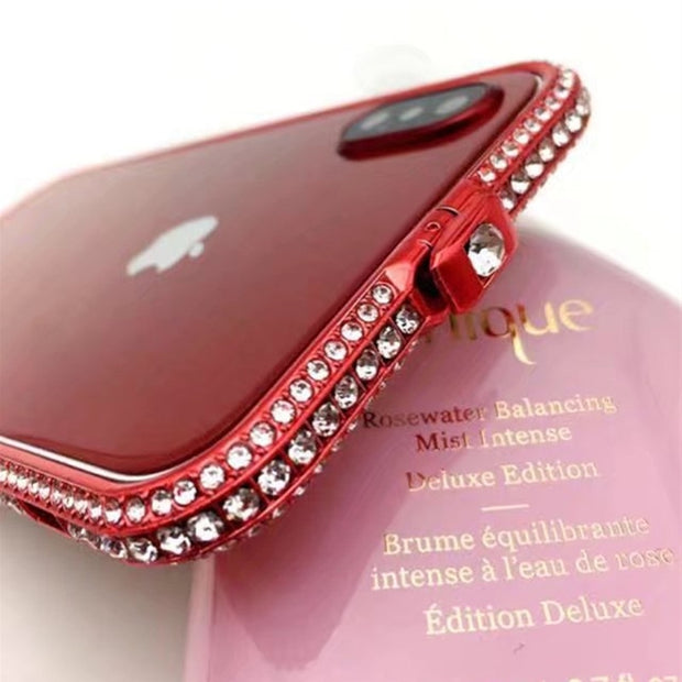 For IPhone X Luxury Bling Metal Crystal Rhinestone Bumper Crown Diamond Case Aluminum Frame For Iphone 6 6S 6Plus 7 7 Plus