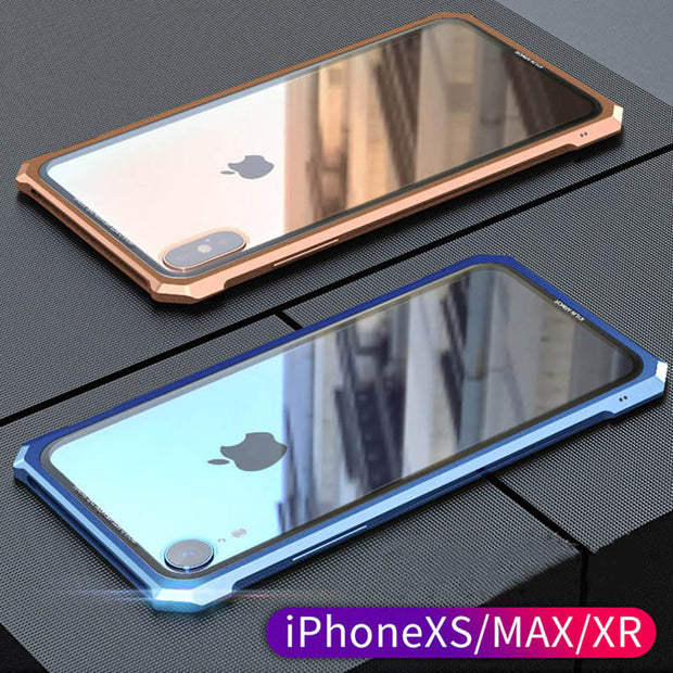 For IPhone XR Case XS MAX X Luxury Glass Cases Shockproof Aluminum Metal Frame Clear Tempered Glass Cover For IPhoneXR XS Max X