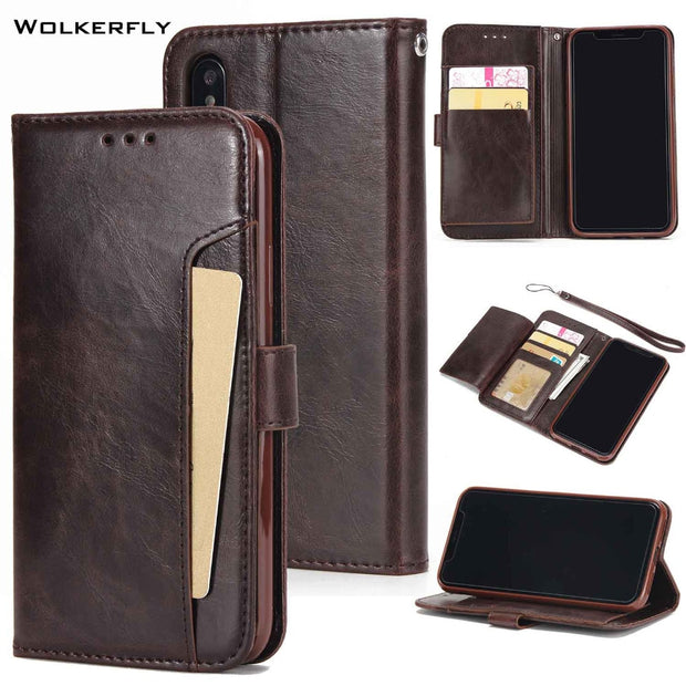 For IPhone XS Case Business Wallet Credit Card Slots Case For IPhone X XS Max 8 Plus 7 6s Plus Holster Leather Filp Silicon Case
