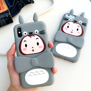 For Iphone X 3D Cute Silicon Totoro Case For Iphone 7 8 6 6s 7plus 6plus Stand Support Fundas Soft Case For Iphone 8plus