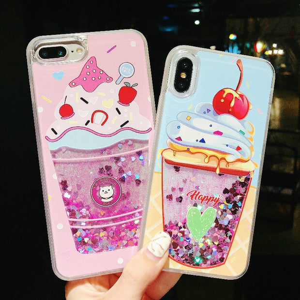 For Iphone XS MAX Luxury Perfume Bottle Liquid Quicksand Ice Cream Phone Case For Iphone X Case 7 7plus 6 6s Plus 6plus Cover XR