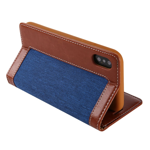 For Iphone XS Max XR X Luxury Denim Flip Leather Wallet Case Cover For Iphone X PU Leather Case Full Protective Cases Cover