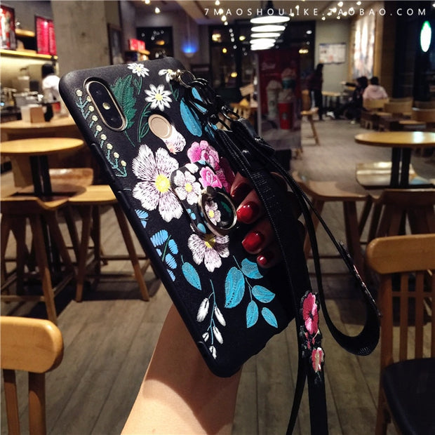 For Xiaomi Max 3 Retro Flowers Case , Imitation Embroidery Soft Phone Cover For Xiaomi Mi Max 2 + Finger Ring Holder Case +strap