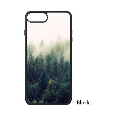 Forest Mountain Quiet Natural Fresh Green Tree Botany Fog Photo Image Phone Case For IPhone 678 Plus XS Max XR Cover