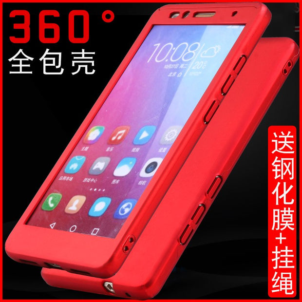 Free Tempered Glass On For Huawei Honor 5X 5 X Case 360 Degree All-inclusive Ultra-Thin PC+Frosted Hard Shell Shockproof Case