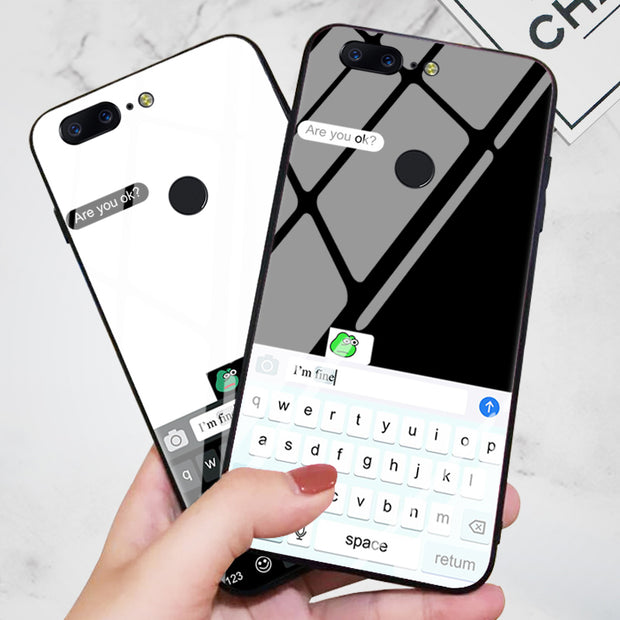 Frog Keyboard Funny Oneplus 6 Cell Phone Shell Glass Set Six Fun 1+5t  Dialog Box Cartoon Couple Anti-fall Mobile Phone Case