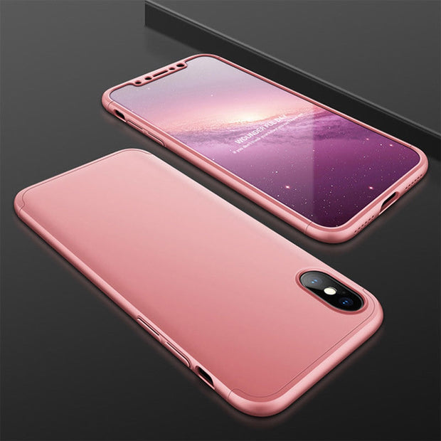 Full Body Protective Case + Tempered Glass Front Screen Protector Transparent Clear Anti Scratch Hard Phone Cover For IPhone X