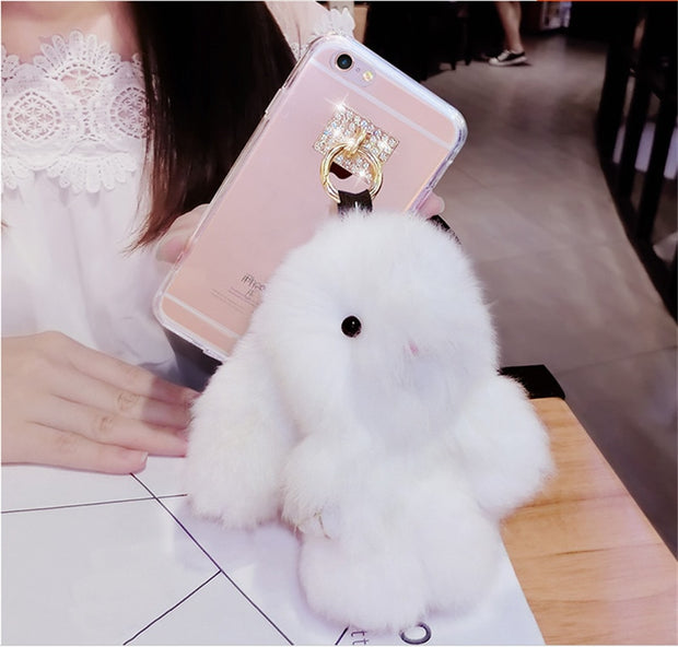 Fur Hair Rabbit Case For Samsung S4 S5 S6 S7 Edge S8 S9 Plus Note 3 4 5 8 9 Bling Diamond Tassel Lovely Bunny Clear TPU Cover