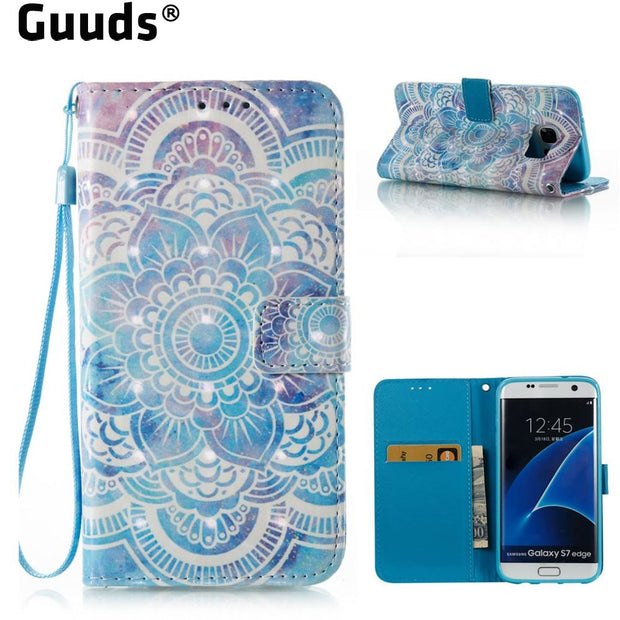 GUUDS For Samsung S7 S7edge Phone Cover Coque Cow Butterfly Flower 3D Painted Leather Wallet Case For Samsung Galaxy S7 Edge