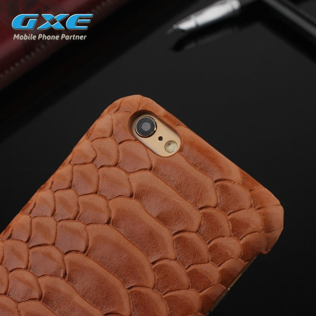 GXE Natural Real Genuine Cow Leather Back Cover For IPhone 6 6S Plus 5 5S SE Case 3D Python Snake Skin Design Mobile Phone Bags