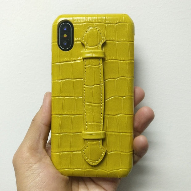 Genuine Leather Hand Strap Holder Phone Cases For IPhone X XS Max 7 8 Plus Luxury Crocodile Thin Slim Back Cover Cases Yellow