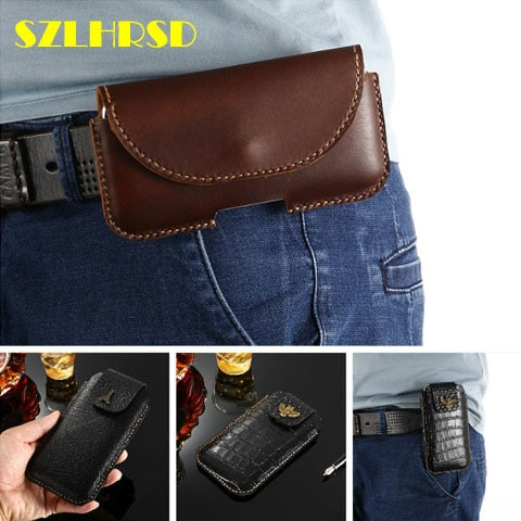 Genuine Leather Phone Pouch Belt Clip Bag For Blackview BV9600 Plus Case  With Pen Holder Waist Bag Outdoor Sport Phone Cover