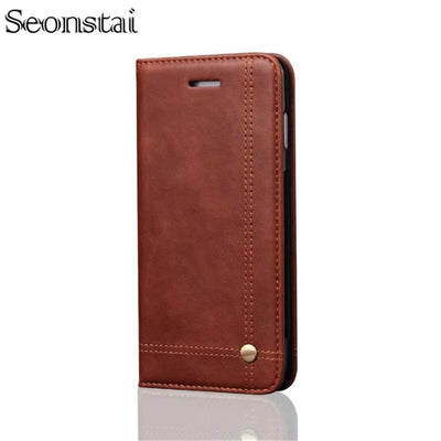 Genuine WalletLeather Case For IPhone 6 6S Luxury Coque Cover For IPhone 7 Capa Fundas With Stand Card Slot Cover For Iphone 8