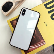 Glossy Simple Plain Color Flat Phone Case With Golden Edge For IPhone 7 8 Plus X TPU Tempered Glass Full Body Protect Cover Capa