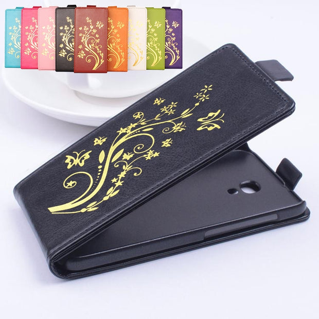 Gold Paillette High Quality Leather Case For Alcatel One Touch Idol 2s 6050Y Case Flip Cover Case With 6050Y Cellphone Cases