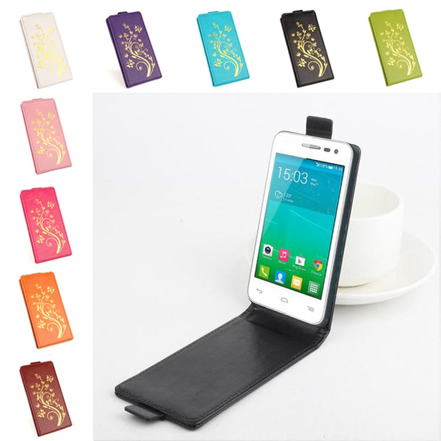 Gold Paillette High Quality Luxury Leather Case For Alcatel One Touch POP S3 OT-5050 Case Flip Cover Case OneTouch POPS3 Cover