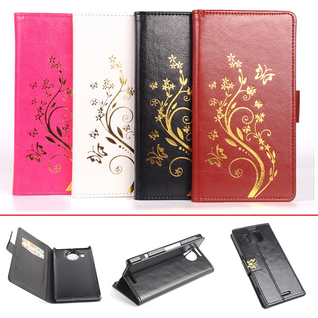 Gold Paillette Sequin High Quality Leather Case For Microsoft Lumia 950XL Flip Cover For Nokia 950XL Wallet Phone Cellphone Case
