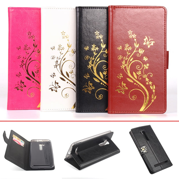 Gold Paillette Sequin Silicone Leather Case For Asus Zenfone ZB551KL Flip Cover Asus ZB551KL Wallet Covers Phone Cellphone Cases